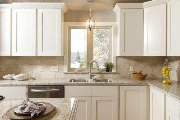 White kitchen cabinets home depot for Stock cabinets